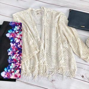 Tops - Ivory Fringe Open Cardigan or Kimono
